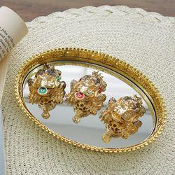 거울 쟁반 재물 삼족두꺼비 3P