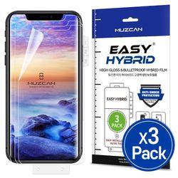 뮤즈캔 아이폰11 이지 하이브리드 고광택 방탄보호필름 3매