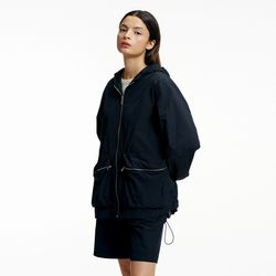 NYLON HOOD ZIP-UP JUMPER BLACK