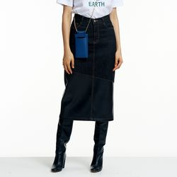 DENIM MIX ECO-LEATHER LONG SKIRT BLACK