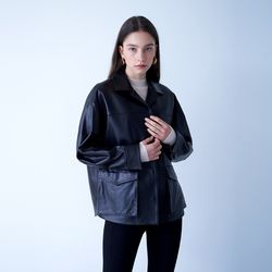 LAMBSKIN FIELD JACKET BLACK