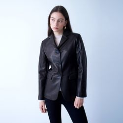VEGETABLE LAMBSKIN SLIM JACKET BLACK