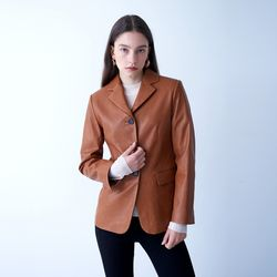 VEGETABLE LAMBSKIN SLIM JACKET CAMEL