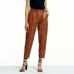 VAGETABLE LAMBSKIN BAGGY PANTS CAMEL