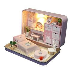 [adico]DIY 미니어처 틴케이스 - 핑크 침실