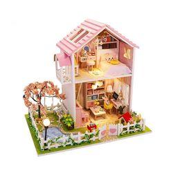 [adico]DIY 미니어처 풀하우스 - 핑크 벚꽃 하우스 NEW