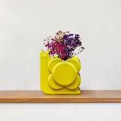 [올라카일리] 도자기 화병 꽃병 스몰 달팽이 옐로우