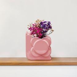 [올라카일리] 도자기 화병 꽃병 스몰 달팽이 핑크