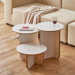 밀크 사이드테이블 거실 침대 협탁 원형 3size