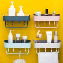접착식 붙이는선반 욕실선반 정리함  파스텔 투톤 4color