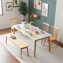 몬스 통세라믹 원목 6인 식탁 세트벤치형(의자3+벤치1) KEF045