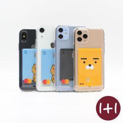 [1+1] 카드 포켓 베이직 투명 폰 케이스(아이폰 갤럭시 핸드폰)