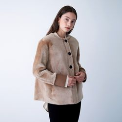 REAL ROUND-NECK MUSTANG JACKET BEIGE