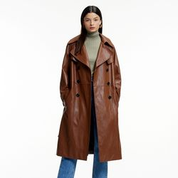 FAKE LEATHER OVERFIT TRENCH COAT CAMEL