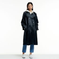 FAKE LEATHER OVERFIT TRENCH COAT BLACK