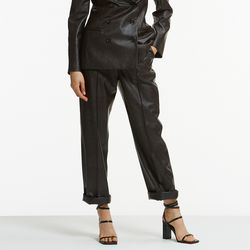 FAKE LEATHER PINTUCK WIDE PANTS BROWN