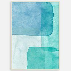 추상화 거실 인테리어 패브릭 그림 액자 블루 수채화[A3]