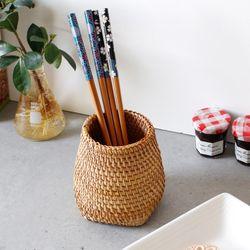 라탄 다용도통(연필통소품통수저통등) - 바닥사각형 1p