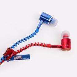 마블 어벤져스 캡틴아메리카 꼬임방지 유선 지퍼 이어폰