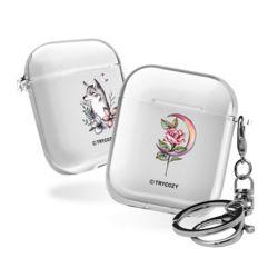에어팟 타투 애니멀 투명 하드 케이스+가방 고리