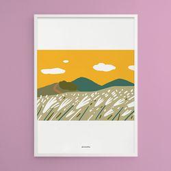 새별오름 억새풀 제주 M 유니크 디자인 포스터 A3(중형)