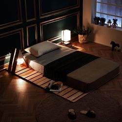 제이픽스 편백나무 원목 4단 접이식 매트리스 침대 퀸 깔판