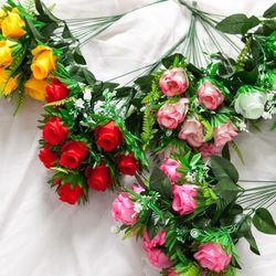 뉴쁘띠봉장미부쉬 50cm 조화 꽃 성묘 인테리어 FAGAFT