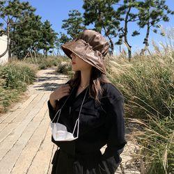 레더 스트링 벙거지 모자 버킷햇