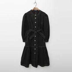 Rose Stitch Puff Long Dress