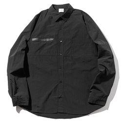 매스노운 지퍼 포켓 오버사이즈 셔츠 MFZST001-BK