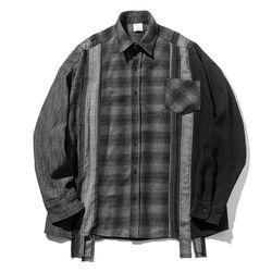 매스노운 멀티 체크 오버사이즈 셔츠 MFZST002-BK