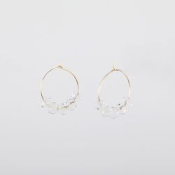 white crystal hook earring