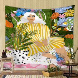태피스트리 패브릭 포스터 - 일러스트 걸 (150x130cm)