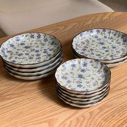 일본 도자기 그릇 아리타 리프 플라워 원형 접시 소5p 중4p 대2p