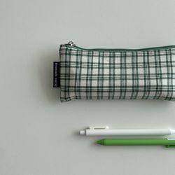 초록 심플 체크 필통(green simple pencil case)