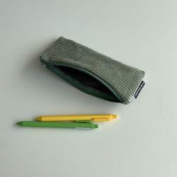 민트 골덴 필통(Mint corduroy pencil case)