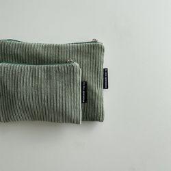 민트 골덴 파우치(Mint corduroy pouch)-S