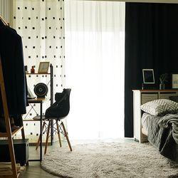심플핏 블랙&화이트 암막커튼2장(창문형)+핀+끈
