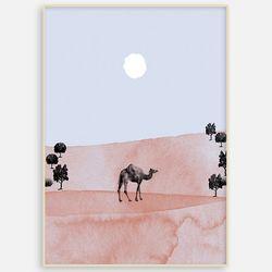패브릭 캔버스 거실 카페 인테리어 그림 액자 낙타[A3]