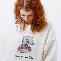 PASTEL CAT LOGO SWEATSHIRT [CREAM]
