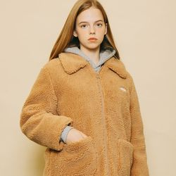 FLEECE ZIP-UP HALF COAT [CAMELBEIGE]