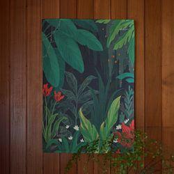 정글 일러스트 패브릭 포스터 . 가리개 커튼(태피스트리)