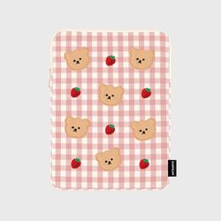 Dot strawberry check-pink(아이패드 파우치)