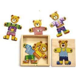 곰돌이 옷갈아입히기(소) 원목퍼즐놀이 유아동장난감