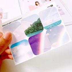 무지개 3cm 사각 스티커 (6 Cut Sticker) 5매