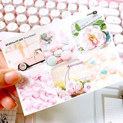 핑크 감성 3cm 사각 스티커 (6 Cut Sticker)