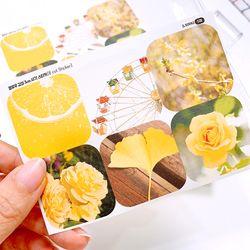 옐로우 감성 3cm 사각 스티커 (6 Cut Sticker)