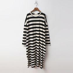 Stripe Cotton Boxy Long Dress