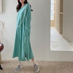 Hooed Cotton Boxy Long Dress