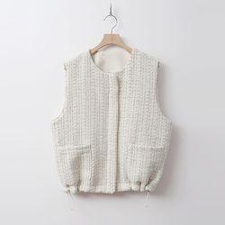 Tweed Wool Zipper Vest